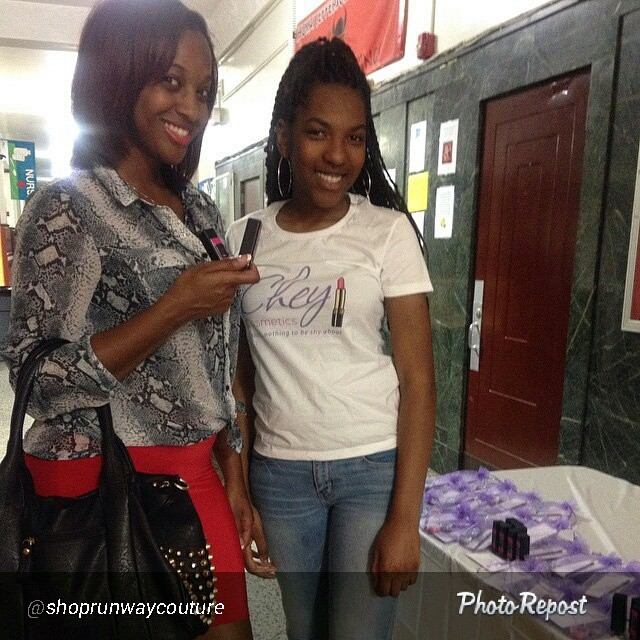 Destinee of Chey Cosmetics, LLC. poses with a happy customer.