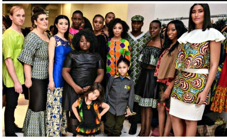 NYFW's youngest designer, Egypt Ufele, with her models of all ages, races and sizes.