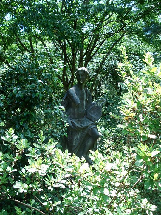 statue tucked away at the old Coe family estate