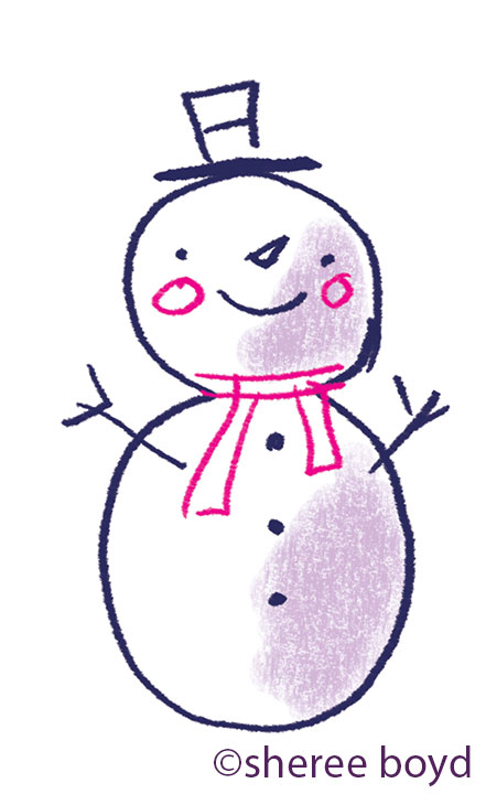 quick sketch of a snowman...something I am working on.  All this snow here in NY does not make drawing snowmen any easier.