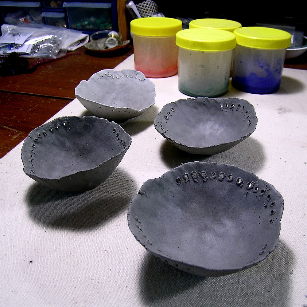work in progress, pinch pots, kathy van kleeck