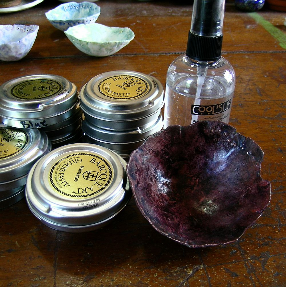 gilders paste, Cool Tools Cool Slip and pinch pot; inside layers: damson, iris blue, coral red and verdigris