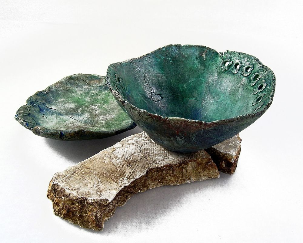 moss aquamarine pinch pot set