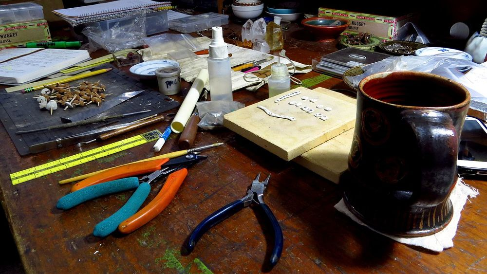 metal clay tools and set up