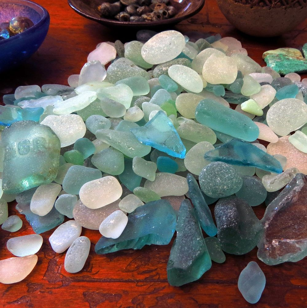 I started off in my treasured stash of bottle green sea glass ...
