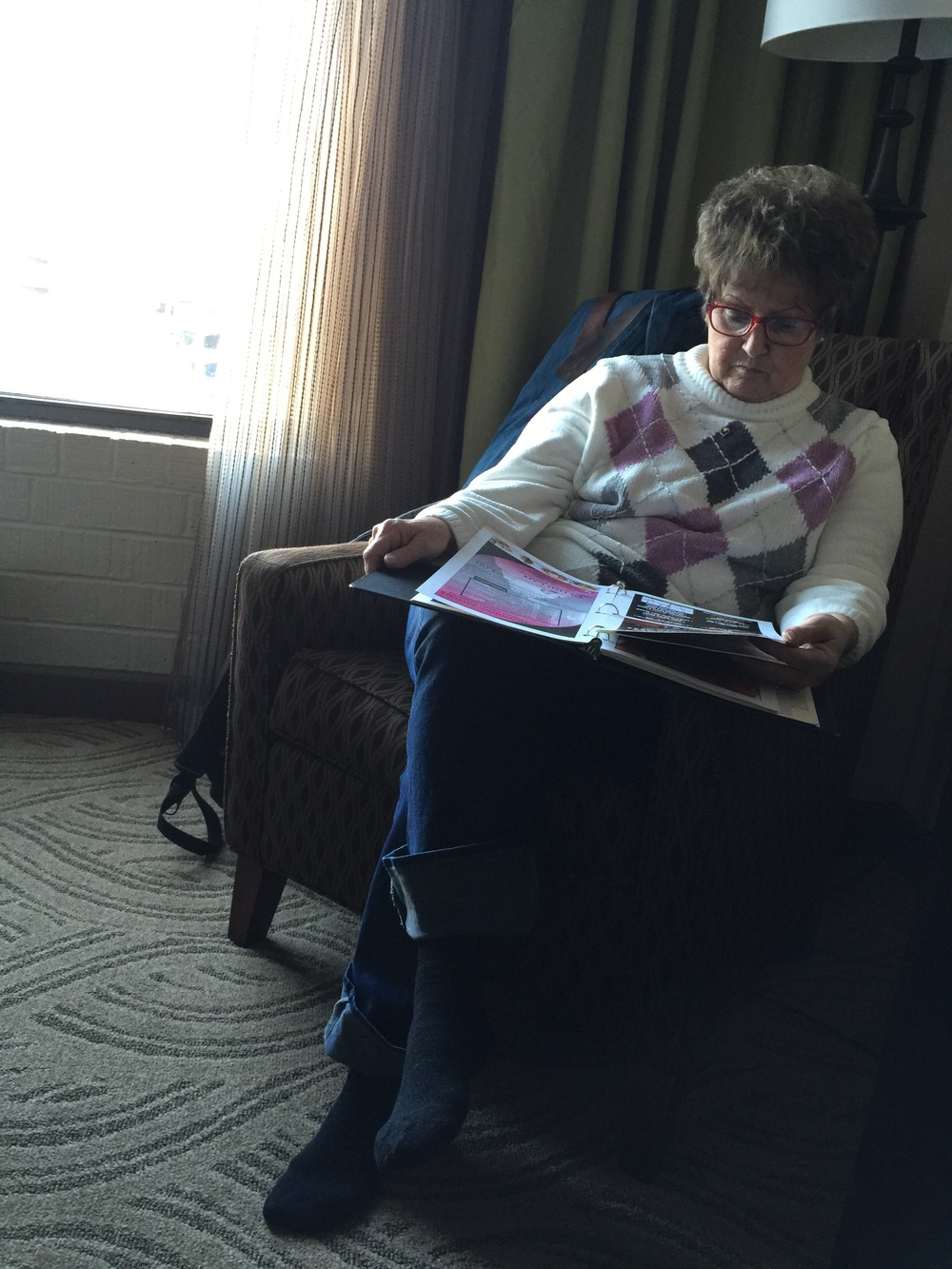 My mother would sit and quietly read while I was getting ready for shows. The calm before the storm.