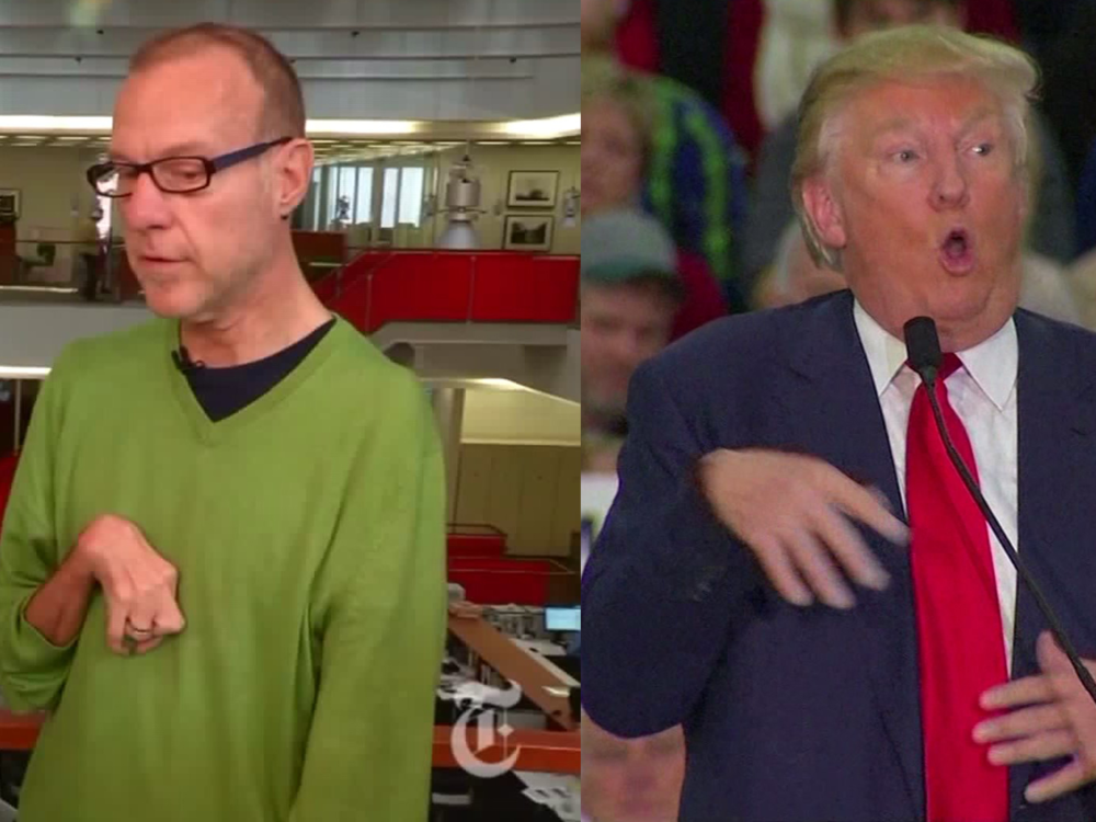 Donald Trump mocking a New York Times reporter's muscular disorder.