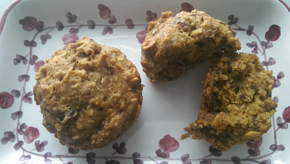 Whole Grain Gluten Free Chunky Nut and Date Muffins