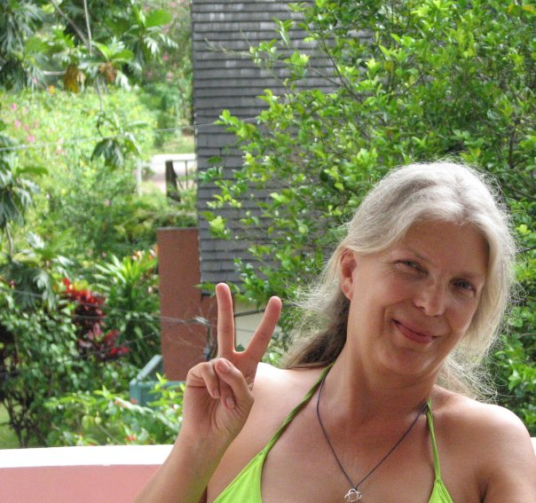 Peace, Love and Adrienne in her garden