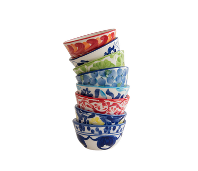 Stackable mini-serving bowls in various patterns.