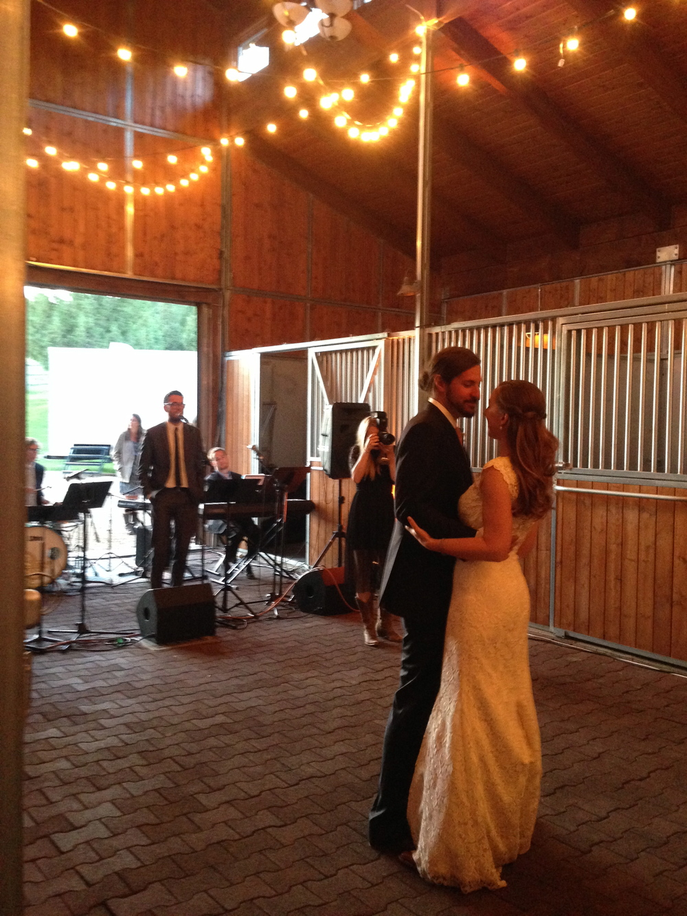 Inside the barn for the first dance.