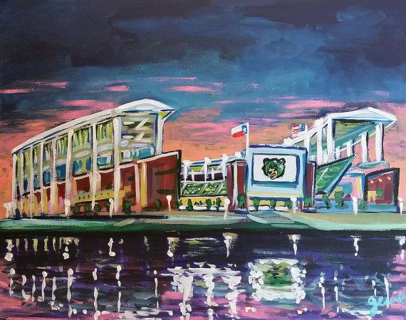 Custom original painting of McLane Stadium by Genie Mack
