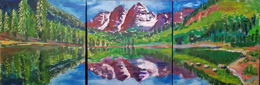 Genie Mack's painting of Maroon Bells, Colorado