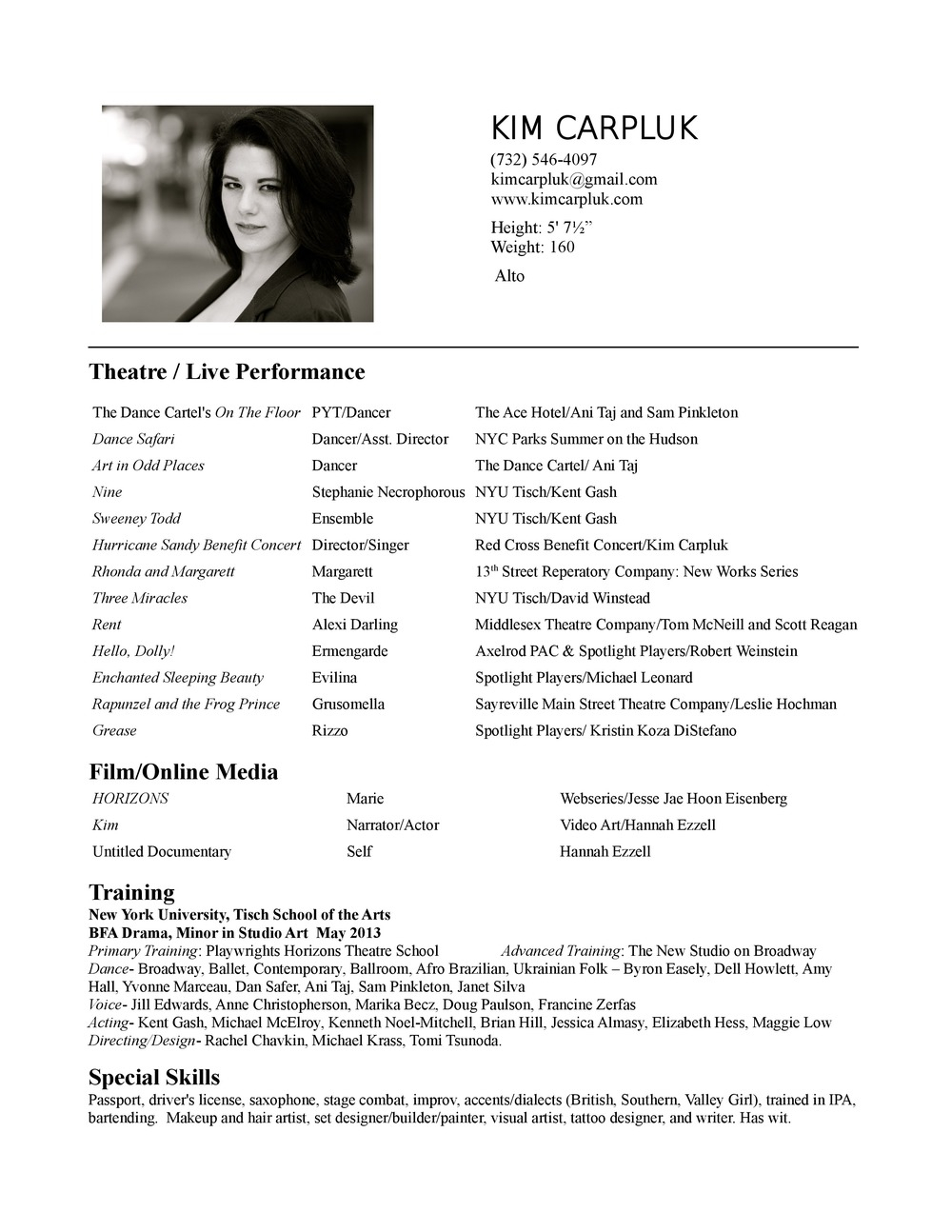 theatre resume kim carpluk