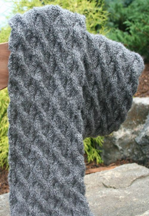 Reversible Cable Scarf Knitting Pattern Berry Meadow