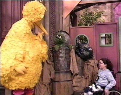 Emily on Sesame Street.
