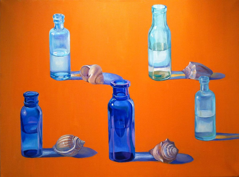 Bottles and Shells,  1972 oil on canvas, 30 x 40 inches