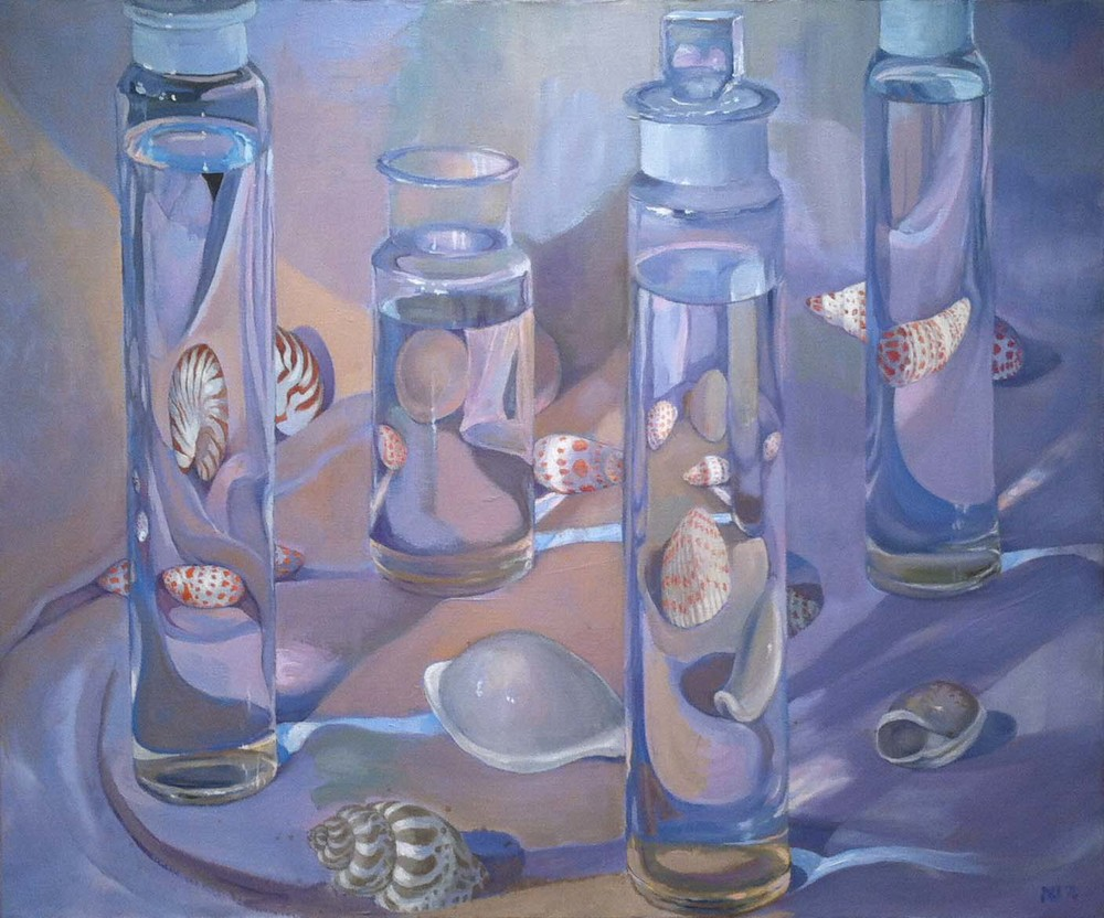 Bottles and Shells,  1976 oil on canvas, 30 x 36 inches
