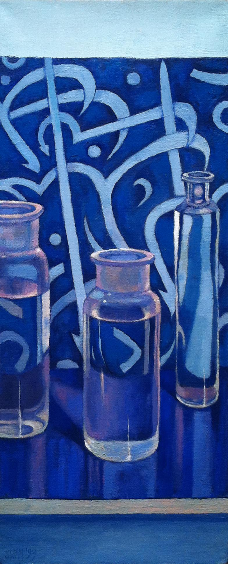 Three Bottles,  1999 oil on linen, 22 x 9 inches