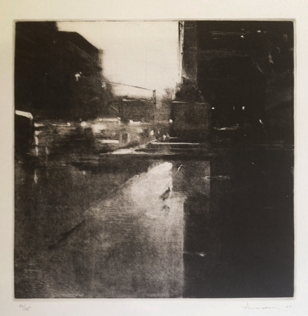 Rain, Copley Square, 2007 intaglio etching & aquatint, ed. 25 Fabriano Rosapina 12 x 12 inches (image), 28 x 19 1/2 inches (paper)