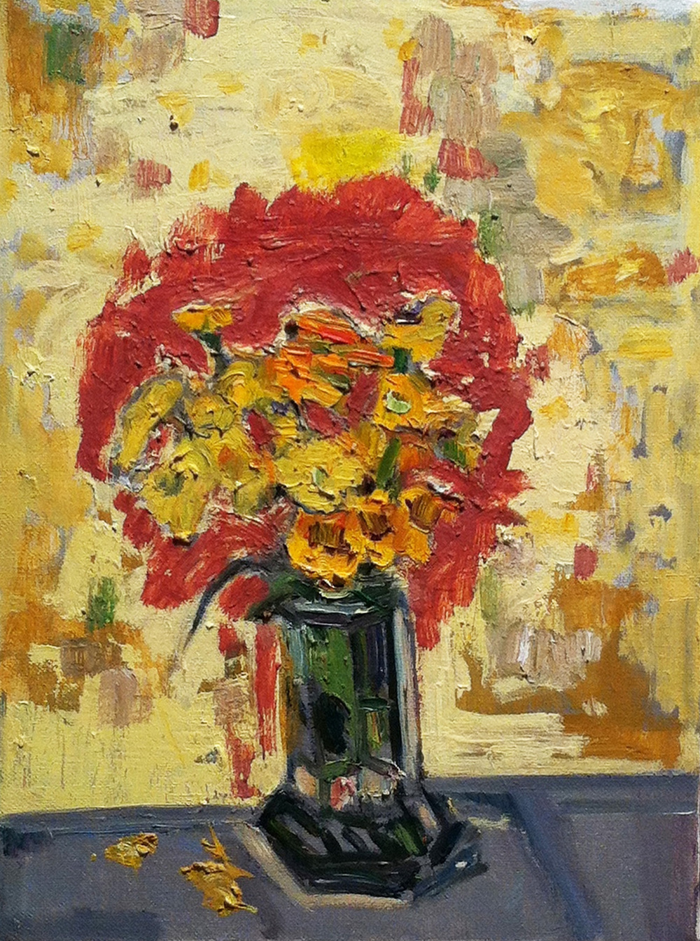Mid-September Yellow,  1990 - 2001 oil on canvas, 12 x 9 inches