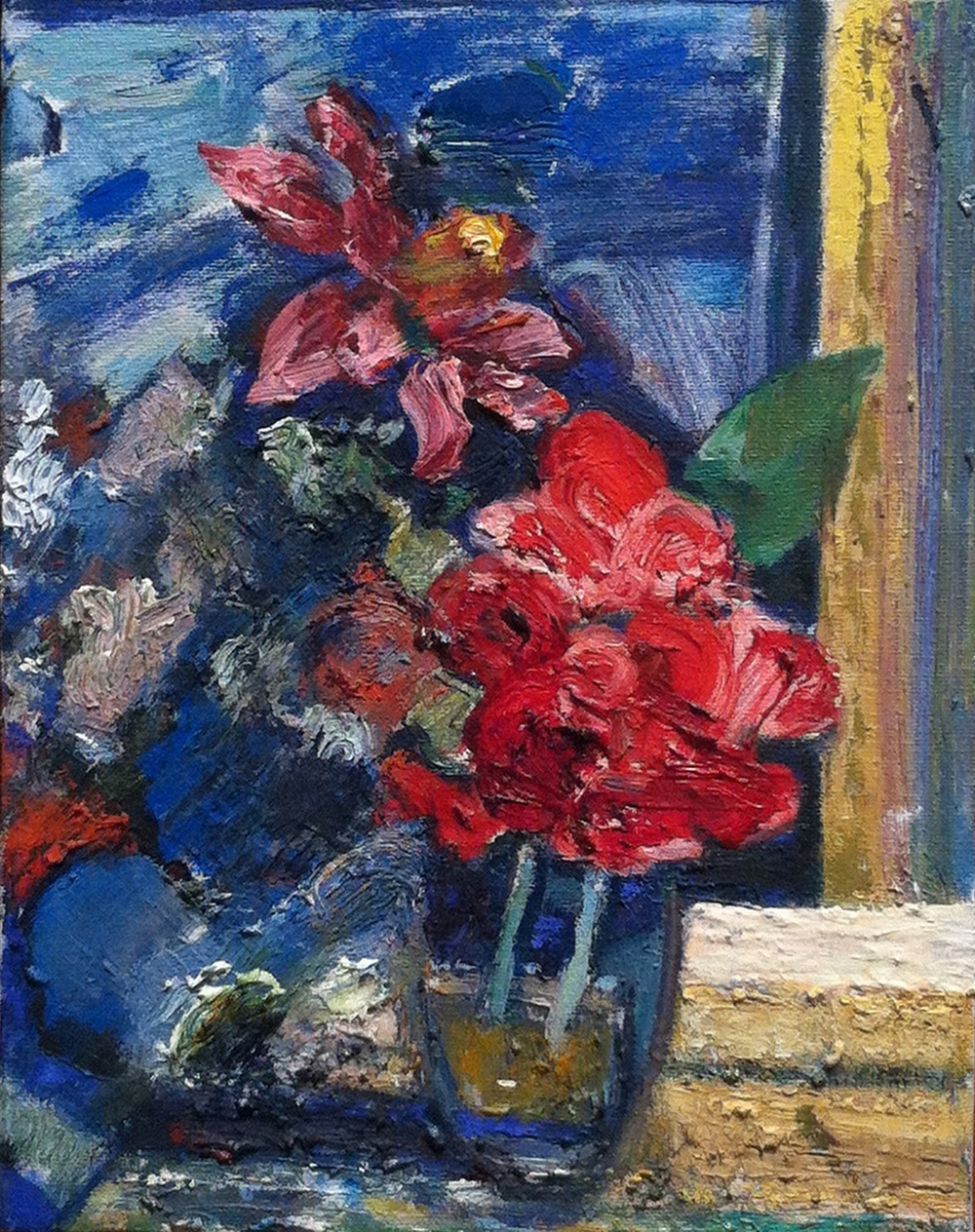 Red Flowers,  2003 oil on canvas, 10 x 8 inches