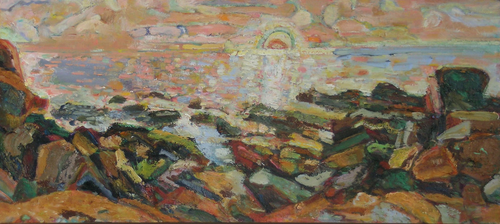 Salmon Sky,  2003 - 05 oil on canvas, 18 x 40 inches