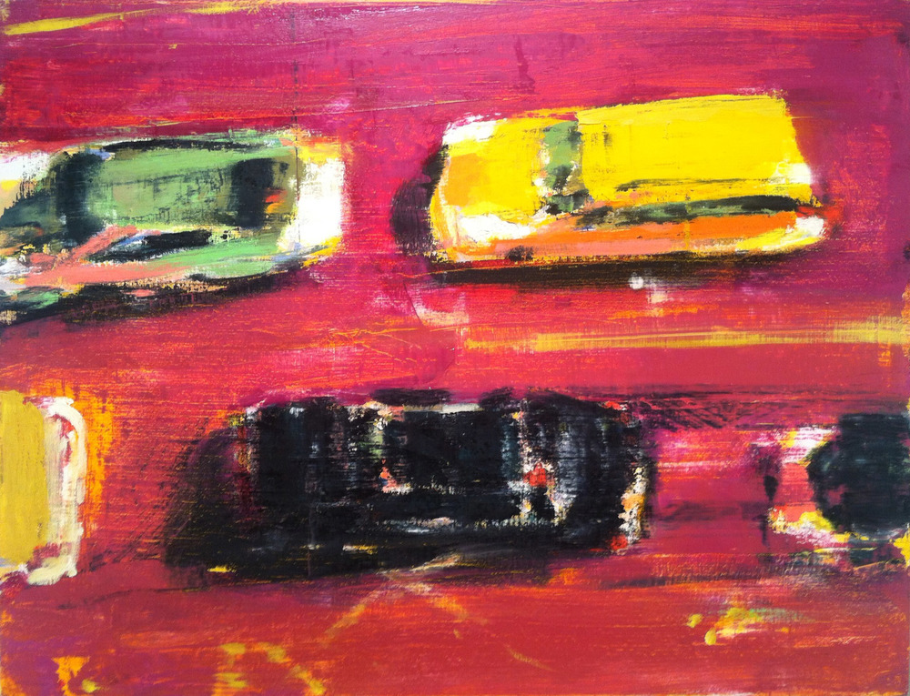 Four Cars,  2012 oil on linen, 26 x 34 inches
