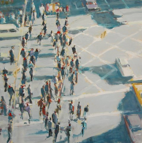 Moving Crowds and Cars,  2007 oil on linen, 60 x 60 inches