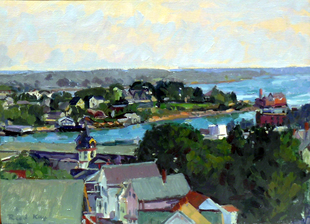 Across Gloucester Harbor to Rocky Neck, 2000 oil on canvas, 12 x 16 inches