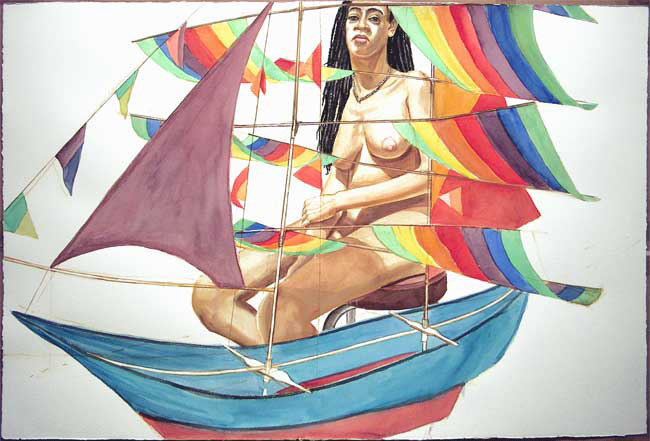 Model and Chinese Kite , 2005 watercolor on paper, 40 x 60 inches