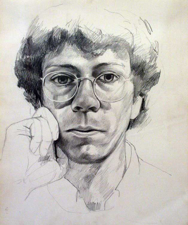 Self-Portrait,  1974 graphite on paper, 16 1/2 x 13 1/2 inches