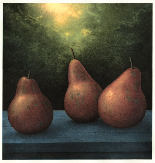 Red Pears,  2005 pigment ink and intaglio print, 13 x 13 1/2 inches edition of 30
