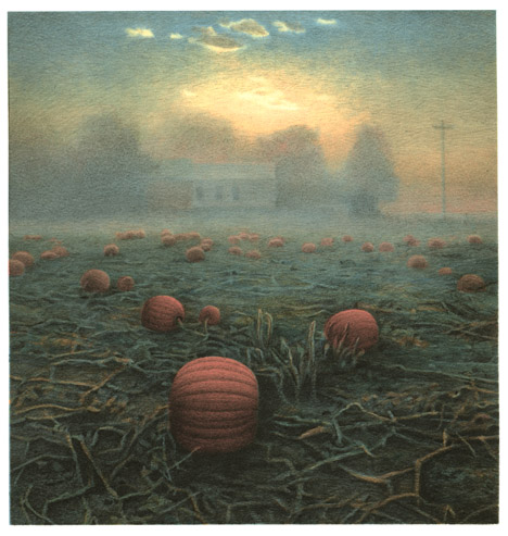 Pumpkins,  2005 pigment ink and intaglio print, 8 x 8 1/2 inches edition of 30