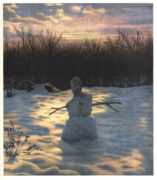 Snowman,  2005 pigment ink and intaglio print, 13 x 12 inches edition of 30