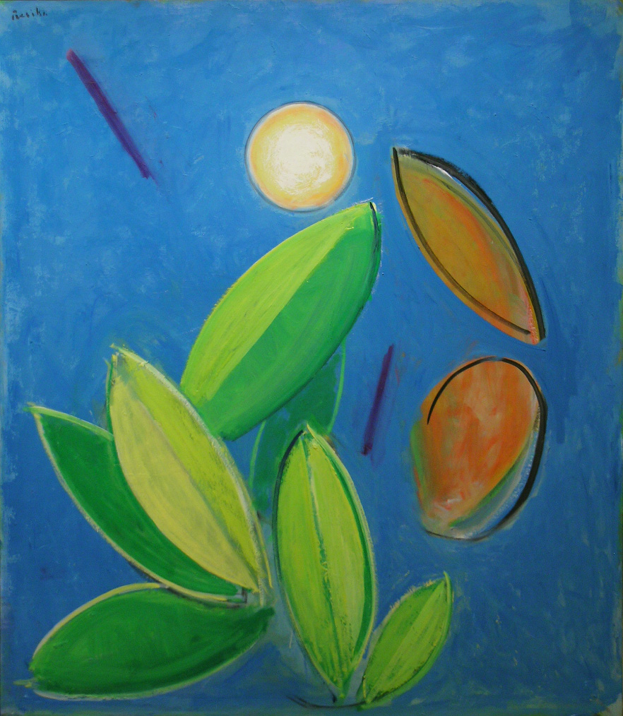 Leaves and Moon , 2001-11 oil on canvas, 60 x 52 inches
