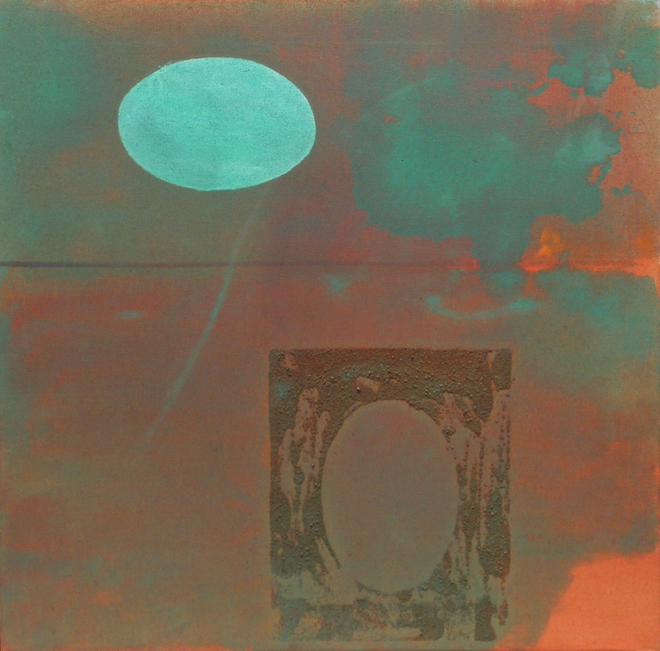 Levitating Emerald Egg,  1985 oil on sand on canvas, 22 x 22 inches