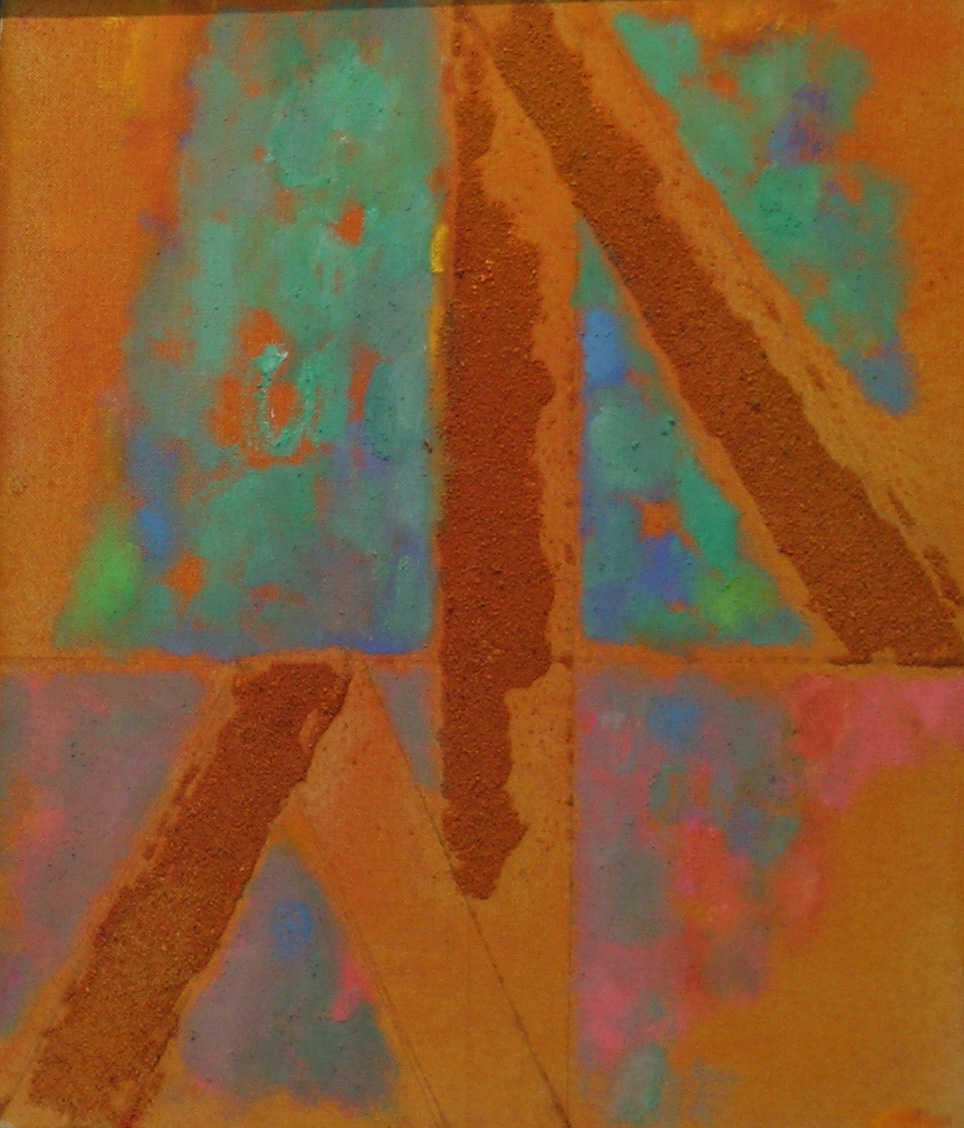 Frail Structure,  1983 oil and sand on canvas, 14 x 12 inches