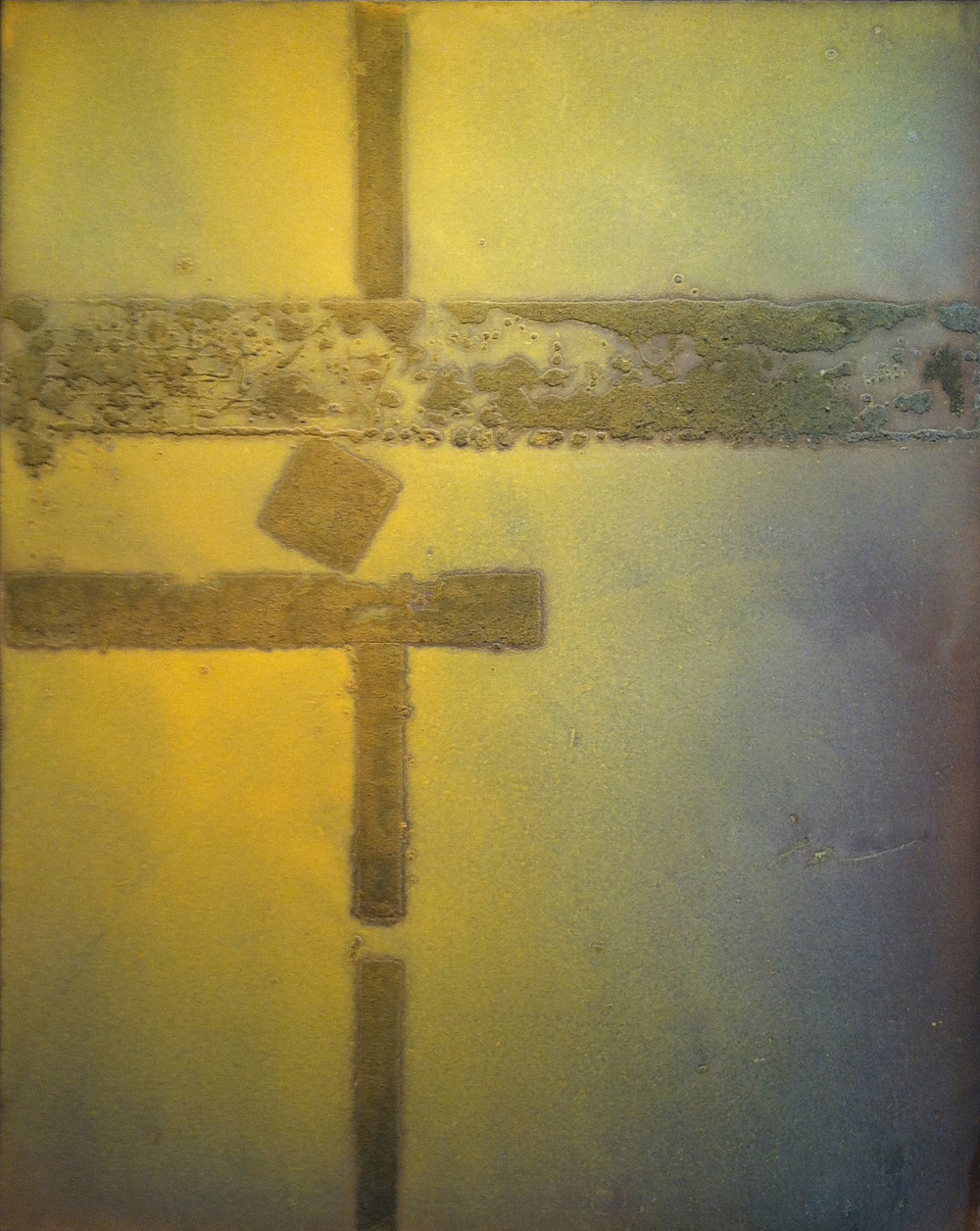 Glow Structure , 1971 oil and sand on canvas, 50 x 40 inches
