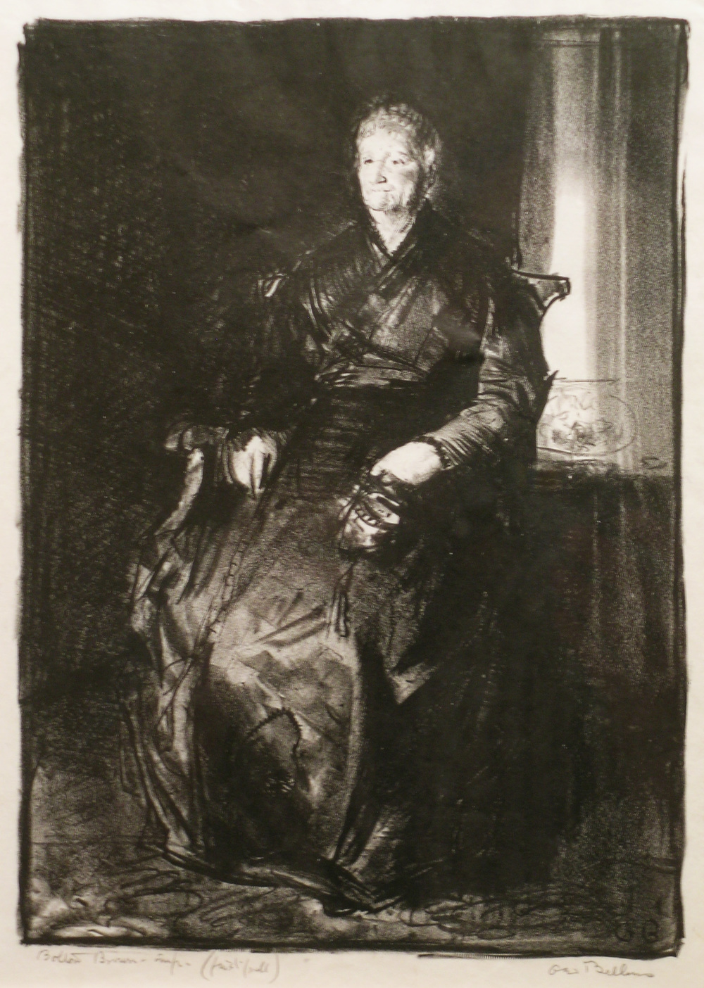 George Bellows   Study of My Mother,  1921 lithograph, 10 1/8 x 7 1/4 inches