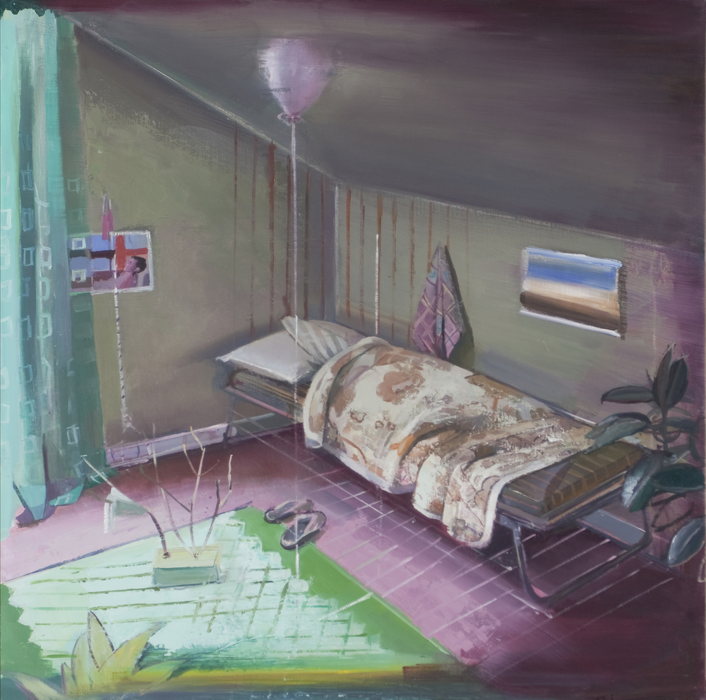 SHIRA AVIDOR   In Bed,   2013   oil on panel, 24 x 24 inches