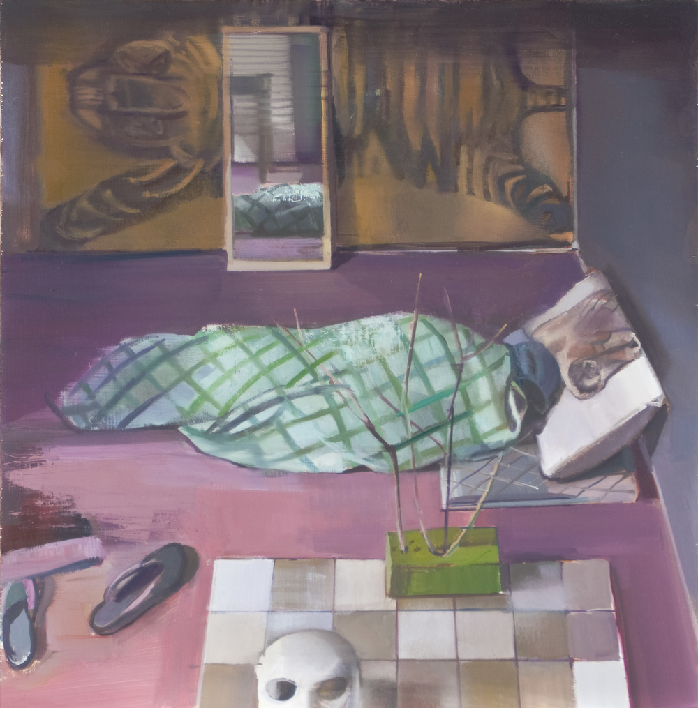 SHIRA AVIDOR   Asleep,   2013   oil on panel, 18 x 18 inches
