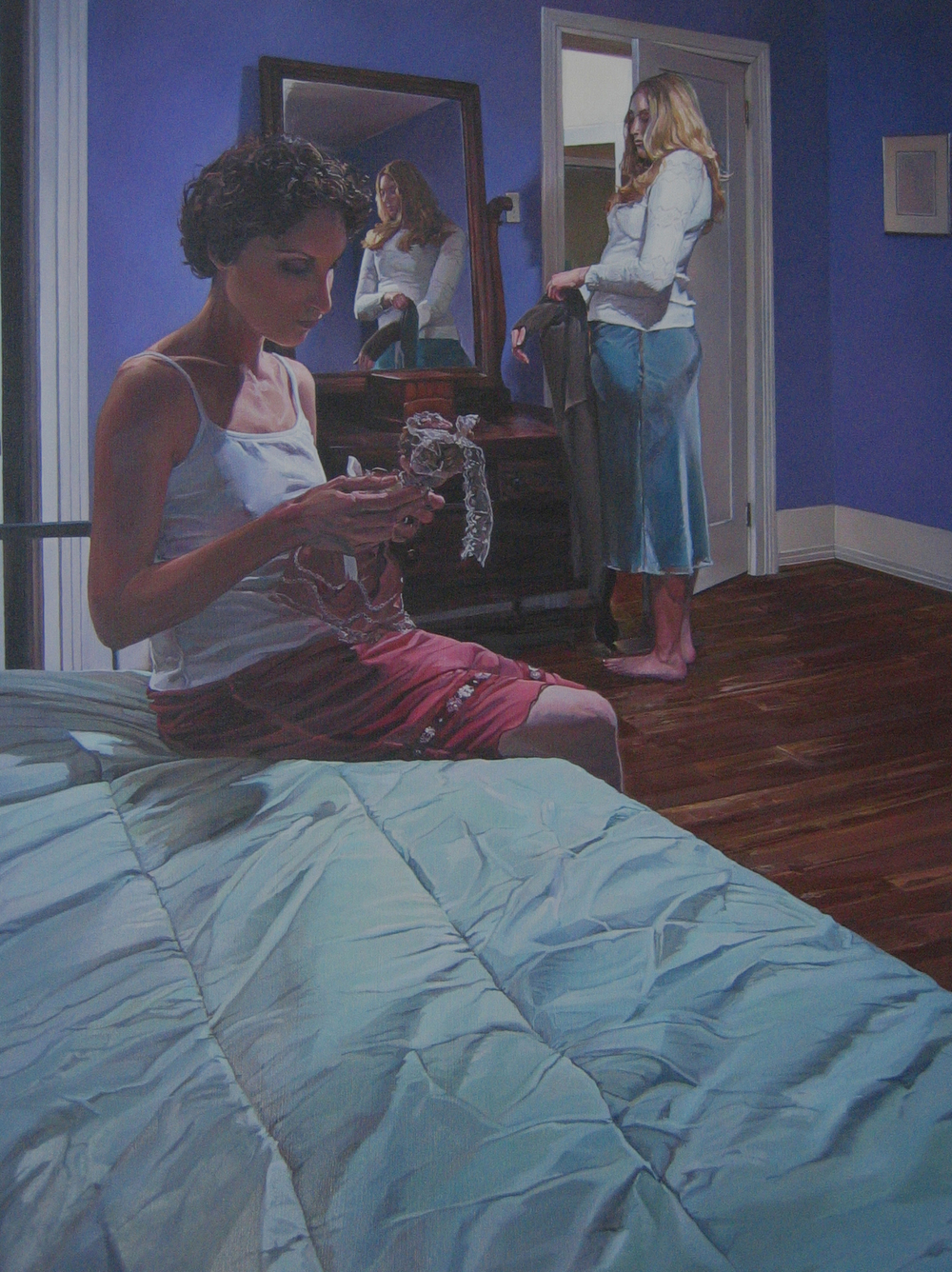 CATHY LEES  Dressing Dolls , 2012 oil on canvas, 36 x 48 inches
