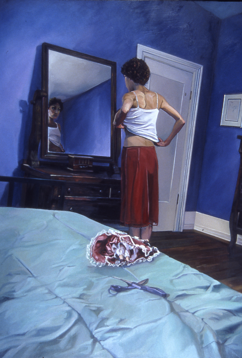CATHY LEES   Undressing  , 2012   oil on canvas, 36 x 48 inches