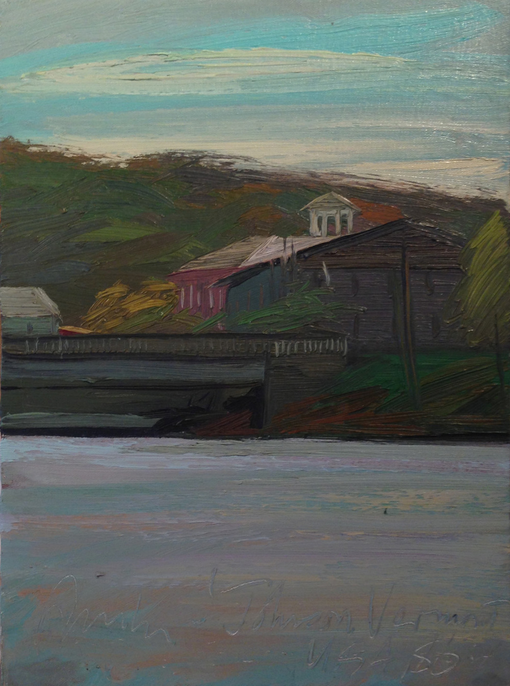 Johnson, Vermont, USA,  1986 oil on canvas, 14 x 10 1/2 inches