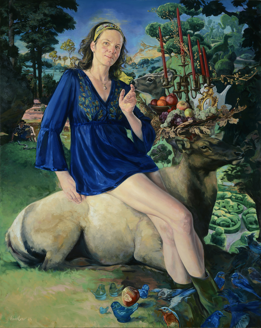 Eve Invents the Bluebird of Happiness While Adam Minds the Snake, 2015 oil on canvas, 60 x 48 inches