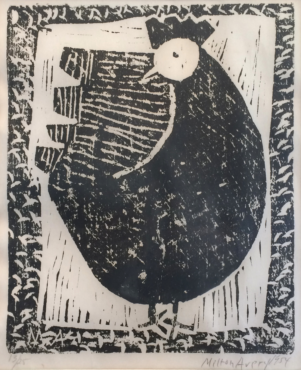 Milton Avery  Hen,  1954 woodcut, 12 x 9 3/4 inches 13/25