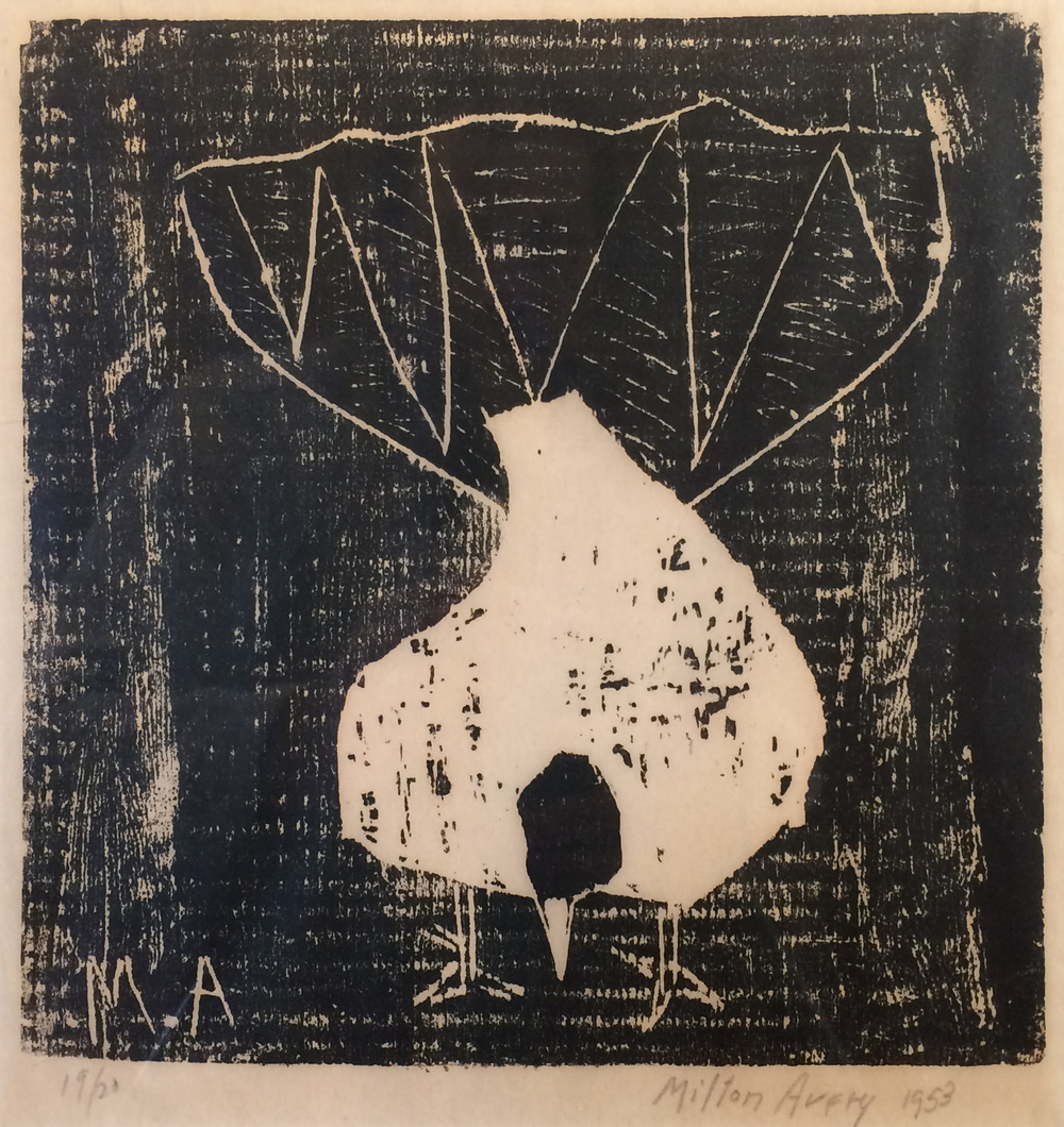 Milton Avery  Fantail Pigeon,  1953 woodcut, 10 1/8 x 9 3/4 inches 19/20