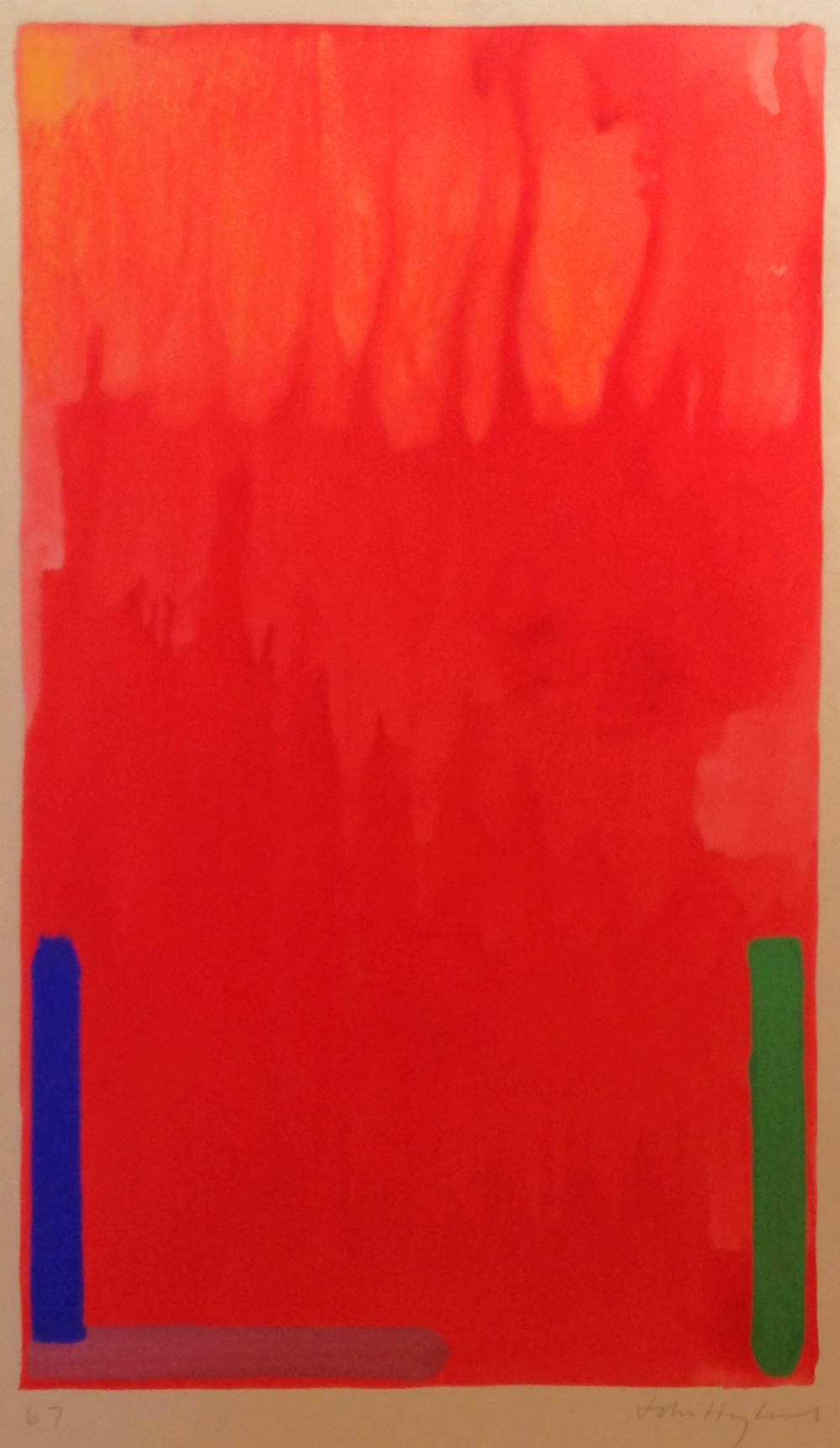 John Hoyland untitled, 1967 watercolor, 26 1/4 x 15 1/4