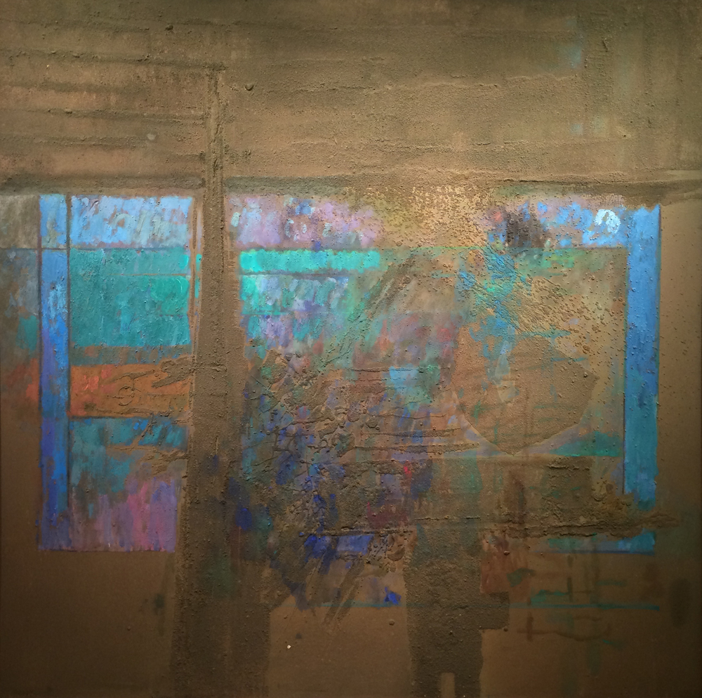 Mosscape,  1964 oil and sand on canvas, 60 x 60 inches